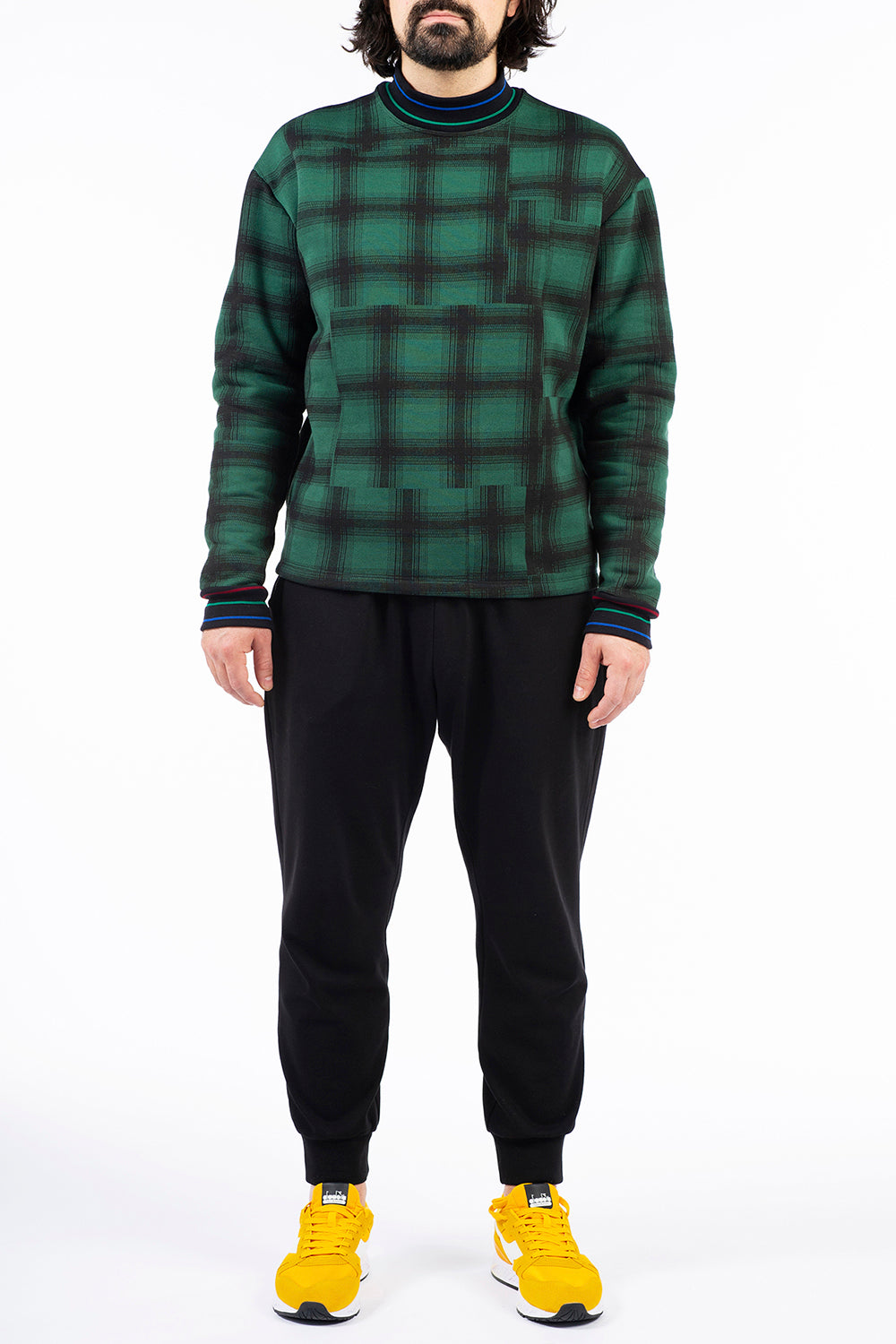 Green Plaid Drop Shoulder Sweatshirt
