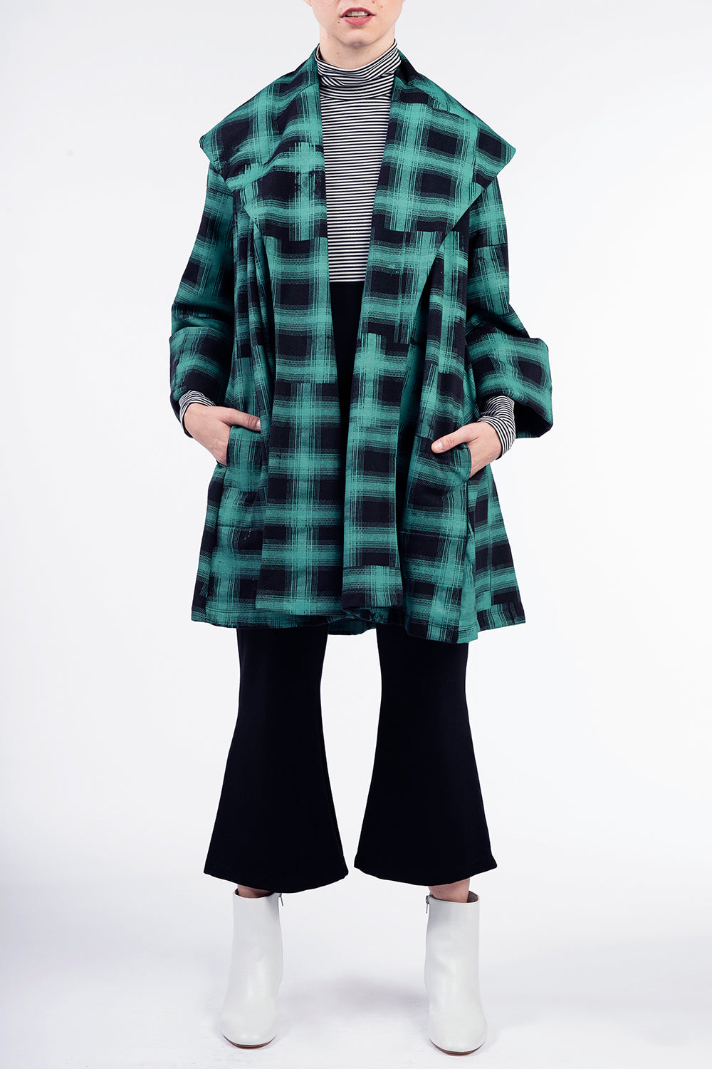 Green Plaid Pom