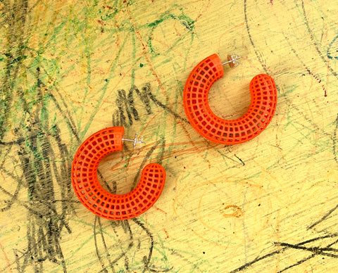 Orange Grid Hoops