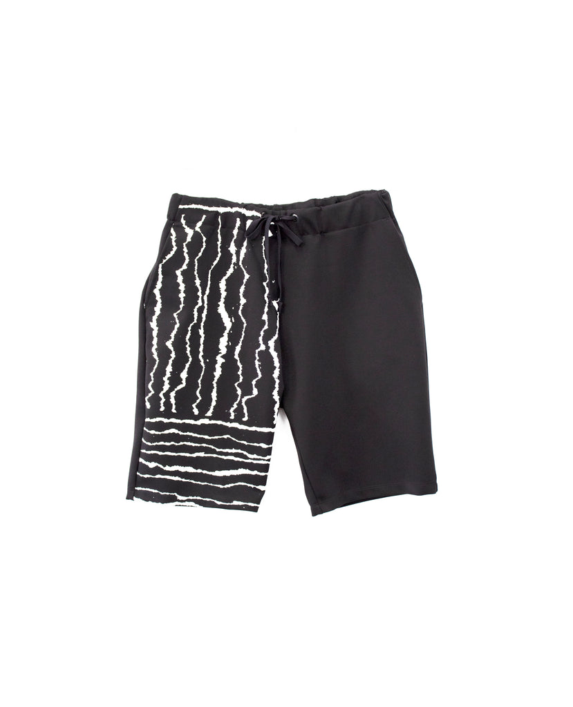 Torn Paper Printed Ponte Shorts
