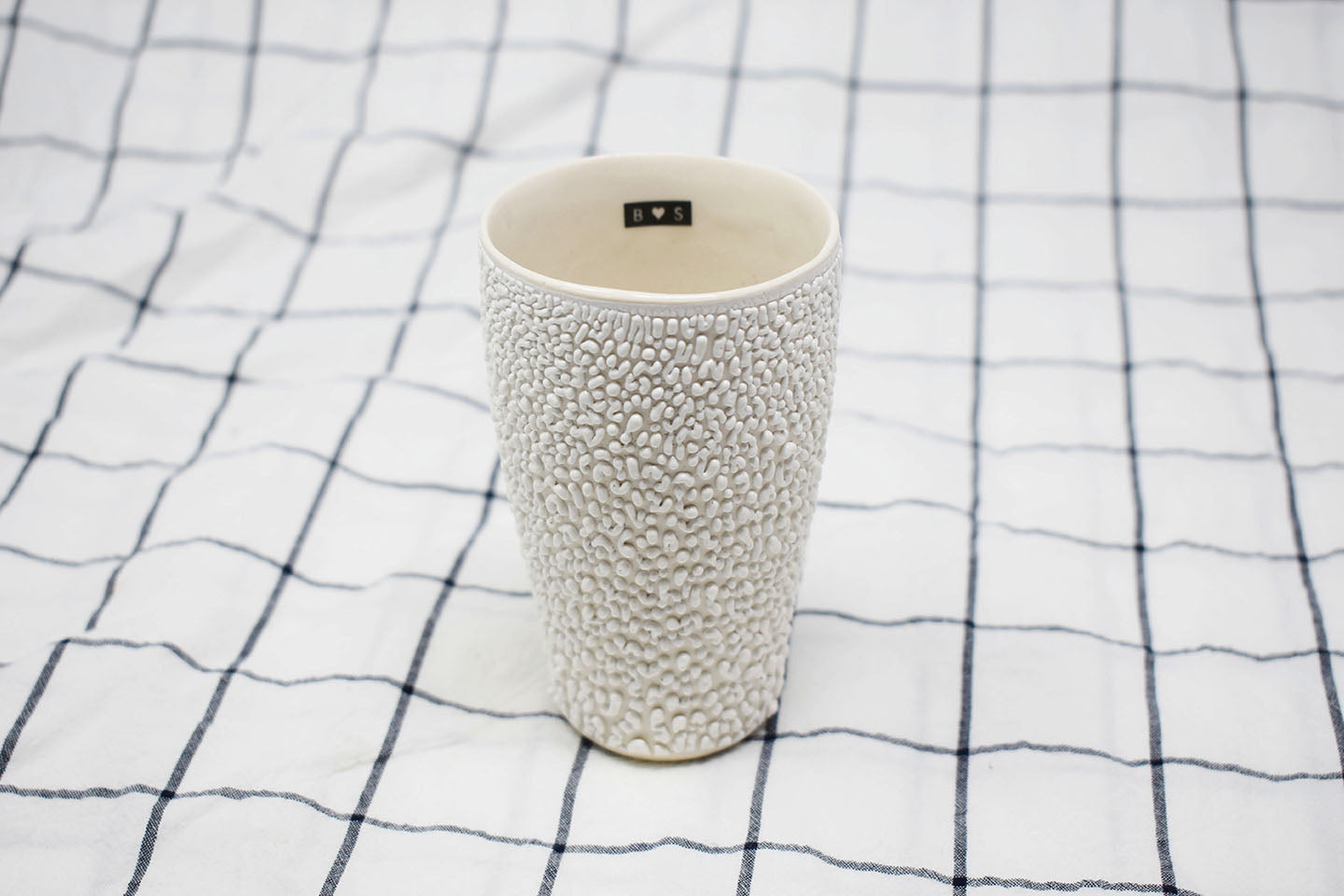 Tumbler Cup - White Crawl with Black Tag