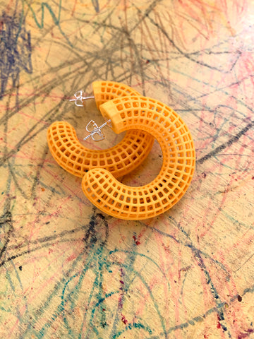 Yellow Grid Hoops