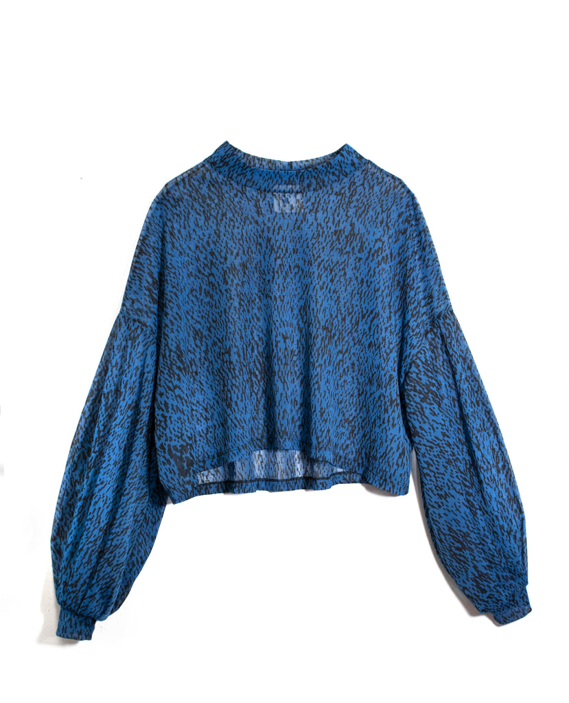 Black Weave Print Blue Sheer Puff-Sleeve Top