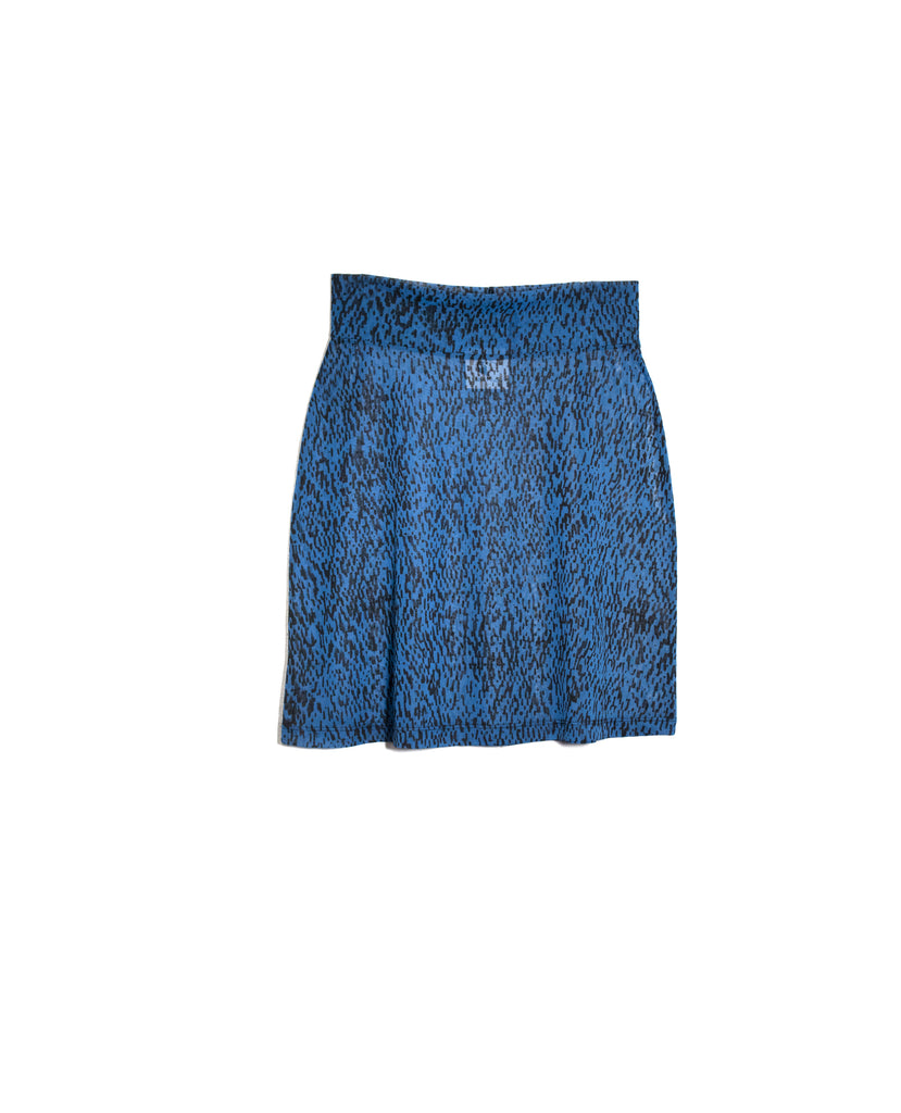 Black Weave Print Blue Sheer Miniskirt