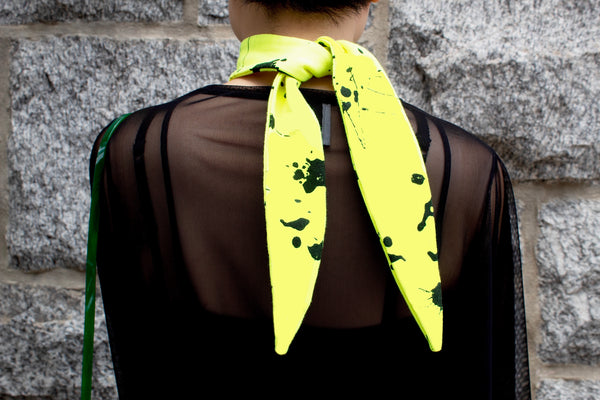 Neon Yellow Splatter Zero Waste Necktie