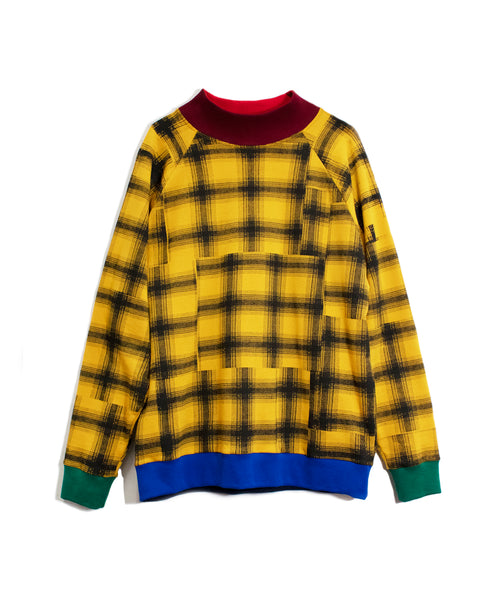 Gold Plaid Drop Shoulder Sweatshirt