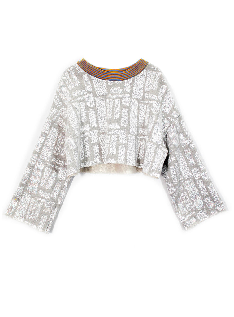 """Fuzzy Print"" Terry Cropped Sweatshirt"