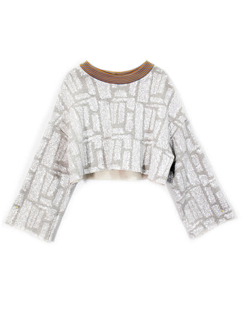 Fuzzy Print Terry Cropped Sweatshirt