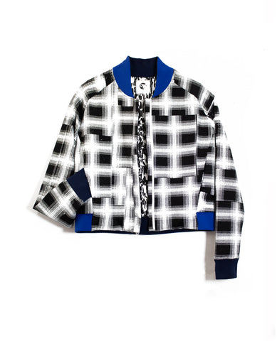 Plaid Cropped Bomber