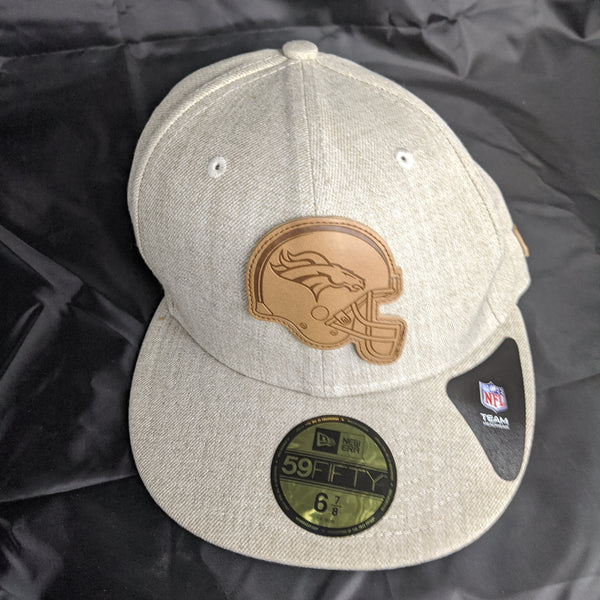 Denver Broncos Oatmeal Grey New Era 59Fifty Leather Fitted 6 7/8ths Hat