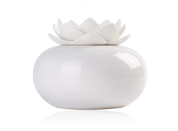 mini humidificateur fleur lotus blanc