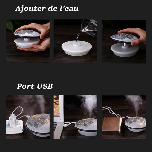 Mini Humidificateur d'Air USB En Forme De Lune - Surface Lunaire - Planet'Air