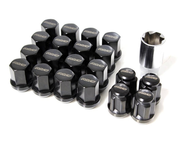 RAYS 19 Hex Lug Nut and Lock Set - Black - 12x1.50