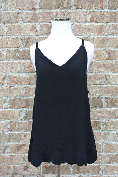 Cross My Heart Scallop Tank- Black