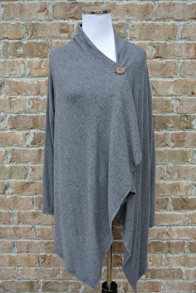 One Button Cross Over Cardigan- Charcoal Grey
