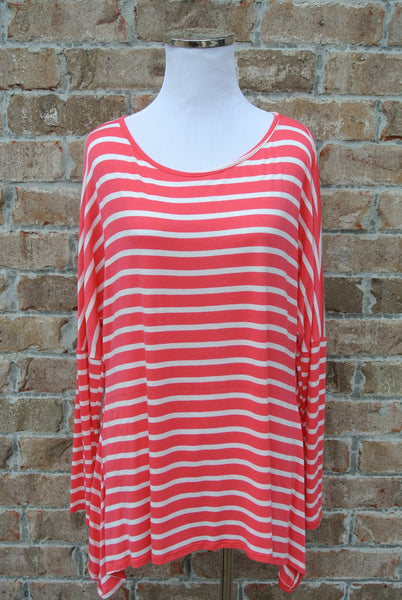 Coral Stripe Long Sleeve Tunic