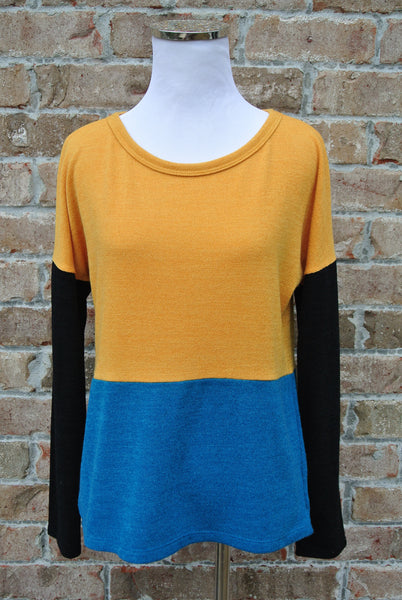Colorblocked Mustard Knit