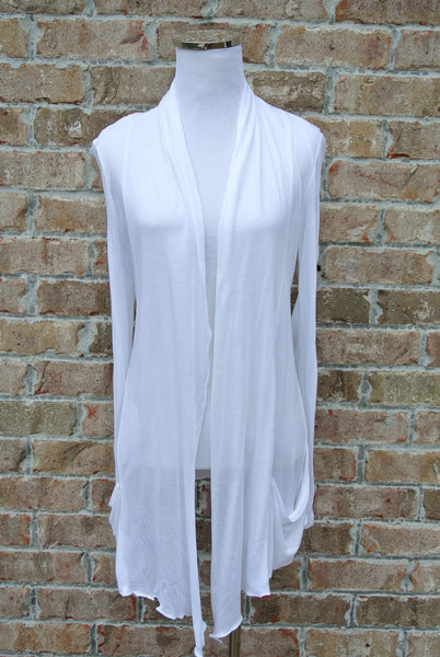 White Open Shawl Cardigan