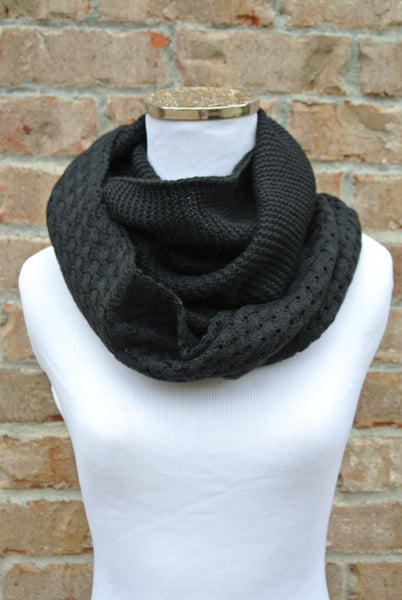 Solid Knit Infinity Scarf- Black