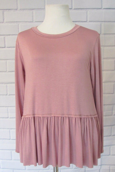Ruffle Feathers Top- Dusty Pink