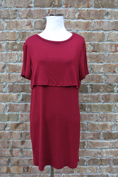 Layered Dress- Burgundy