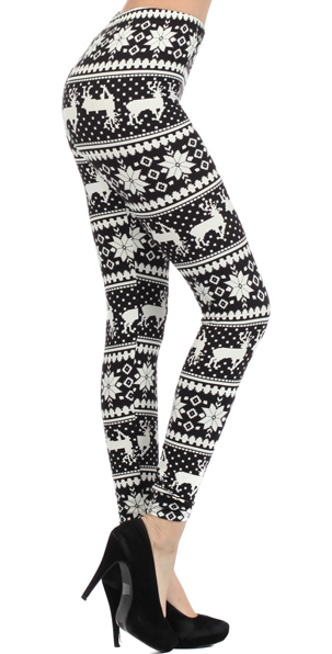 Printed Snowflake and Deer Leggings