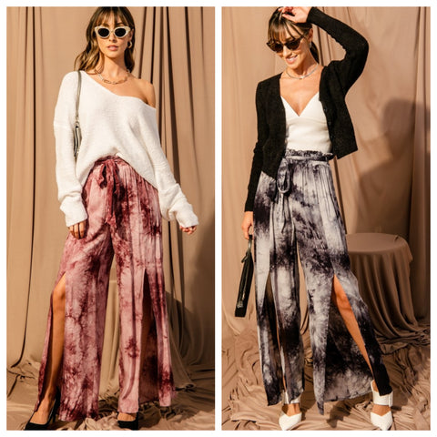 DOUBLE ICON - TIE DYE WIDE LEG PANTS