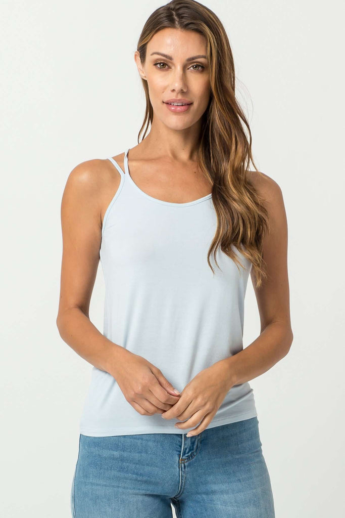 DOUBLE ICON - MOMENTS STRAPPY TANK TOP - BABY BLUE - Shop Double Icon