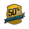 fifty percent off tickets badge