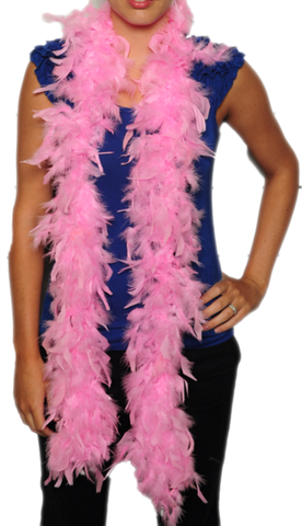 women in blue shirt wearing pink feather boa