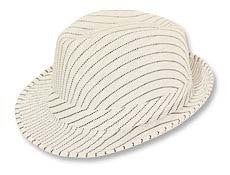 white mesh fedora with black pinstripe