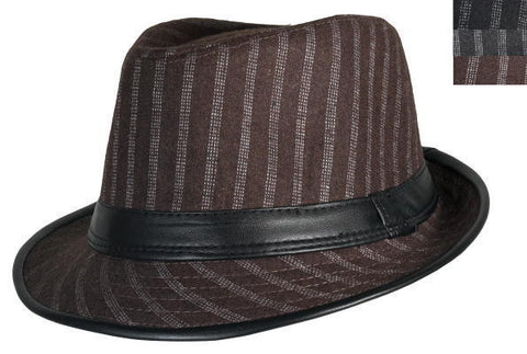Brown Pinstripe Leather Hat