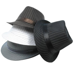 mixed felt pinstriped fedoras