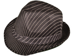 Black mesh fedora with white pinstripe