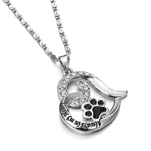 Dog Paw Heart Pendant Necklace