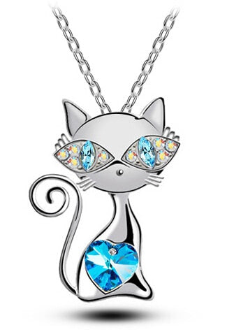 crystal cat Pendant Necklace with rhinestones