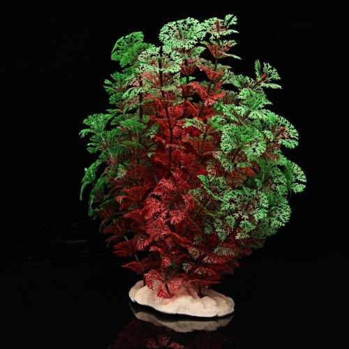 Red Green Plastic Plant  Aquarium  Landscape Decoration