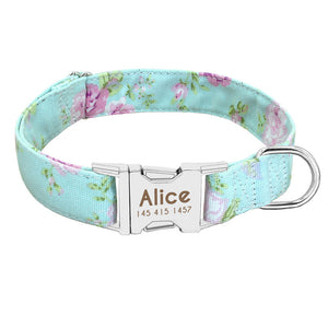 Custom Collar  with Personalized nameplate ID Tag + Matching leash