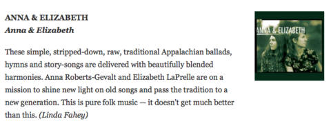Anna & Elizabeth included in NPR Folk Alley's 10 Favorite Albums of 2015