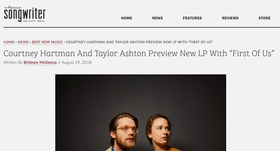 "American Songwriter Premieres ""First Of Us"" From Upcoming Courtney Hartman & Taylor Ashton Record"