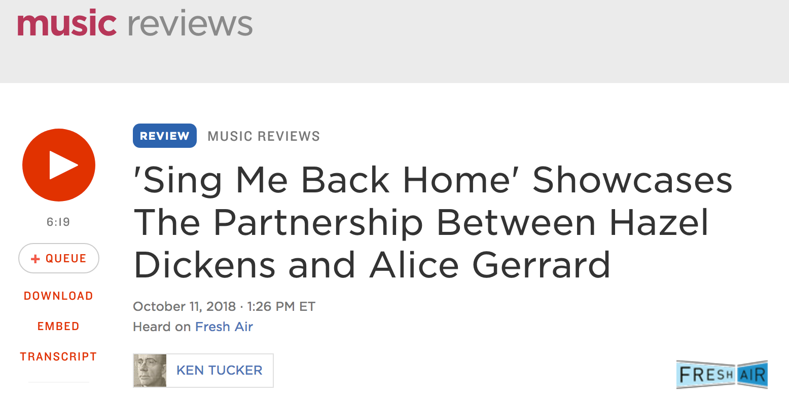 "New Hazel & Alice Release Featured on NPR's ""Fresh Air with Terry Gross"""