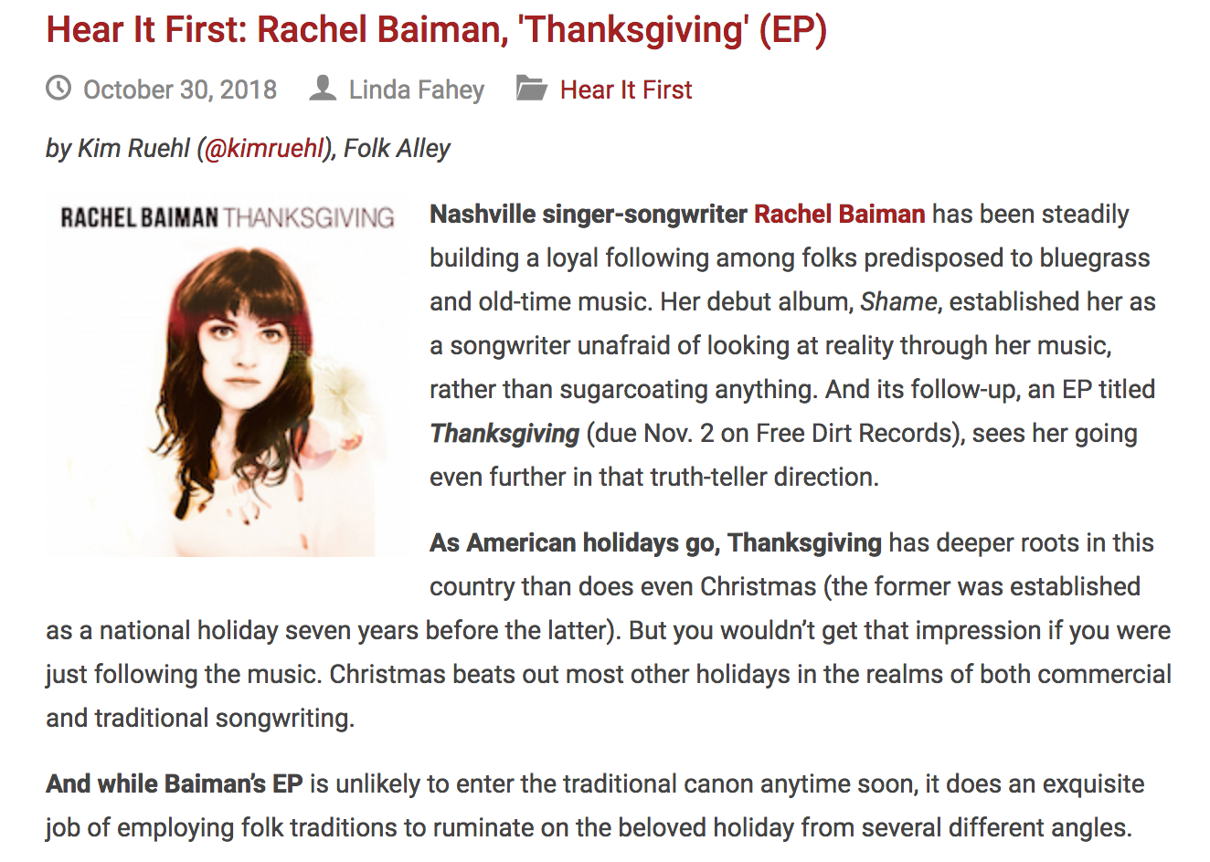 "Folk Alley Premieres Rachel Baiman's ""Exquisite"" Thanksgiving EP"