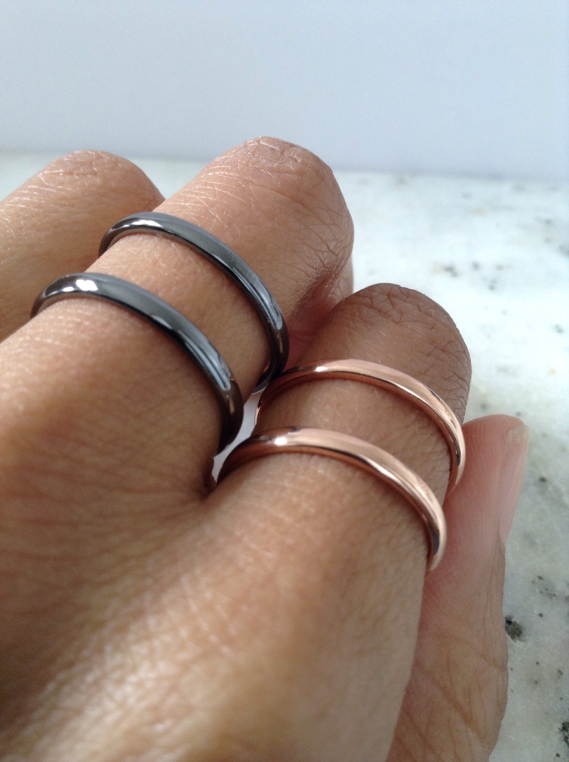Rose Gold plated wire cuff ring