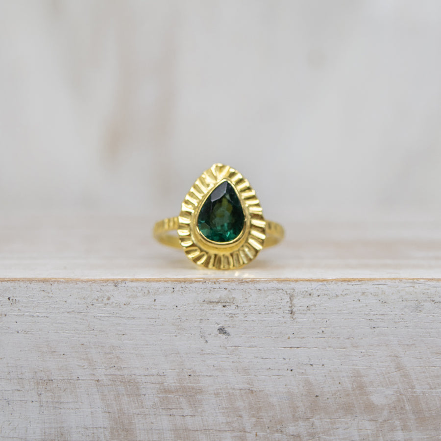 SELENA DARK GREEN TOURMALINE RING - GOLD