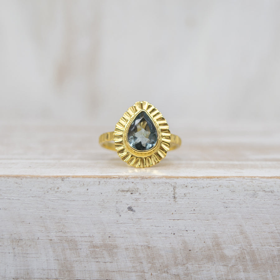 SELENA BABY BLUE TOURMALINE RING - GOLD