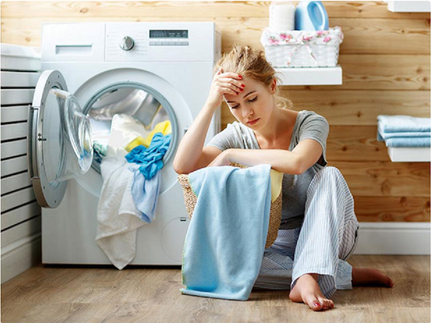 Girl Frustrated with Washing Machine