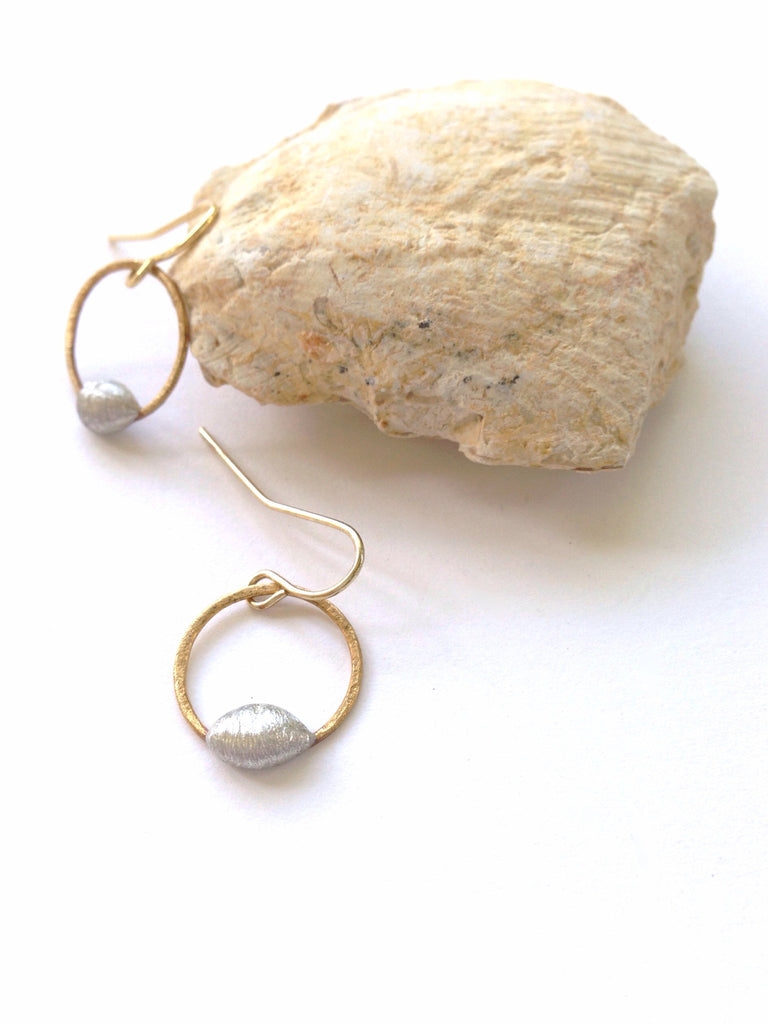 Mixed Metal Small Hoop Earrings - Hello Lucky Life  - 1
