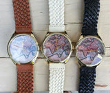 Antique world map watch