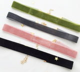 4 velvet chokers set