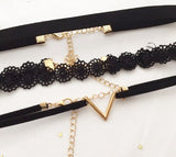 Basic Black color chokers set